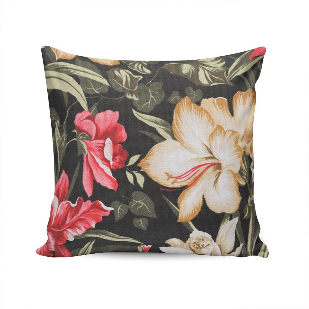 Almofada Acquablock Preta Floral Capa em Algodão - 45x45 cm