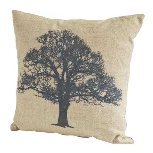 Almofada Árvore Preta em Tecido - 45x45 cm