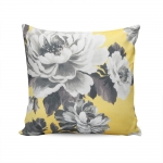 Almofada Bali Amarela Estampa Floral Tecido Suave em Poliéster - 45x45 cm