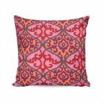 Almofada Bali Rosa Estampa Arabescos Tecido Suave em Poliéster - 45x45 cm