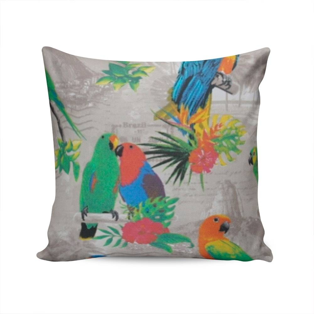 Almofada Belize Aves Tropicais com Capa em Algodão - 45x45 cm