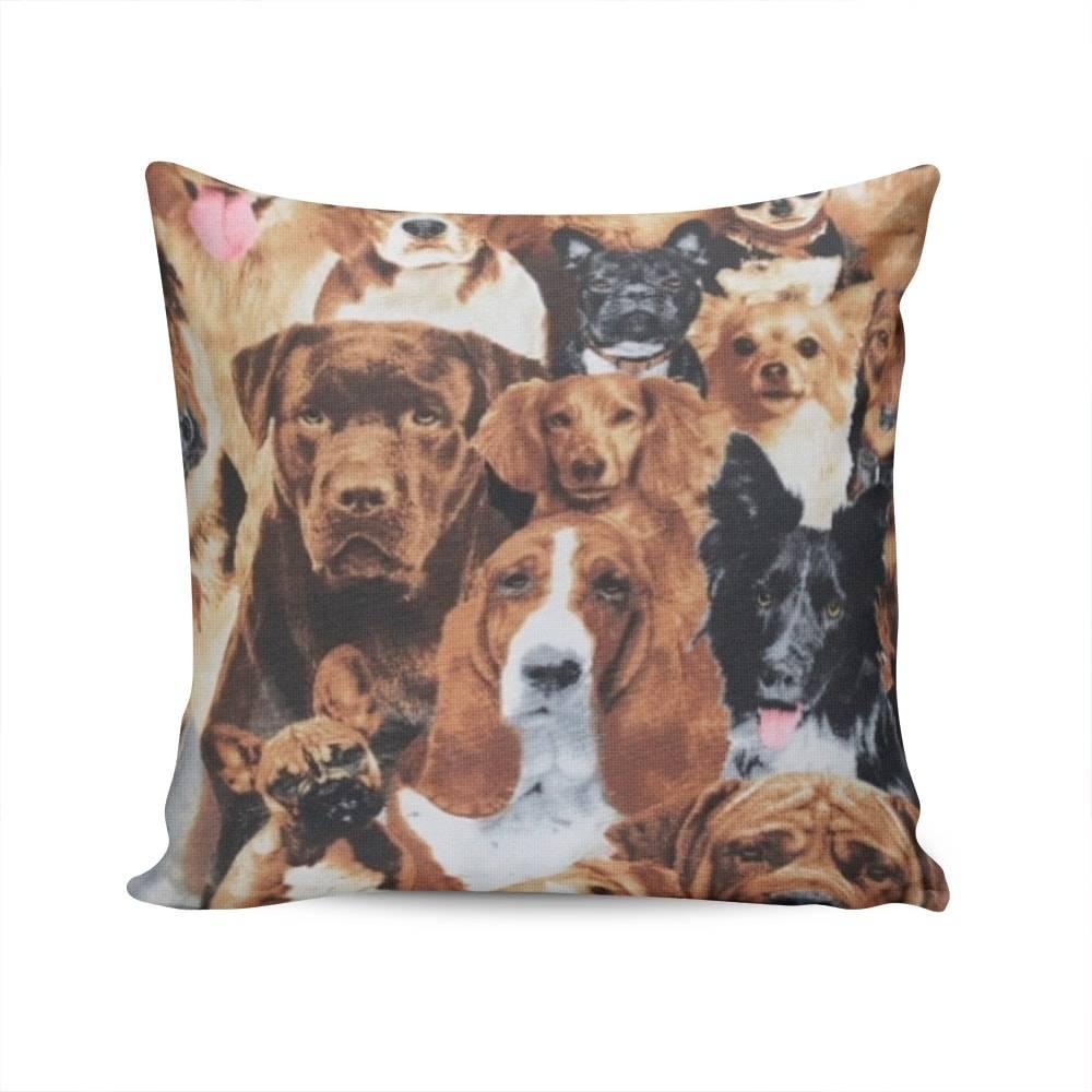 Almofada Belize Brave Dogs Marrom com Capa em Algodão - 45x45 cm