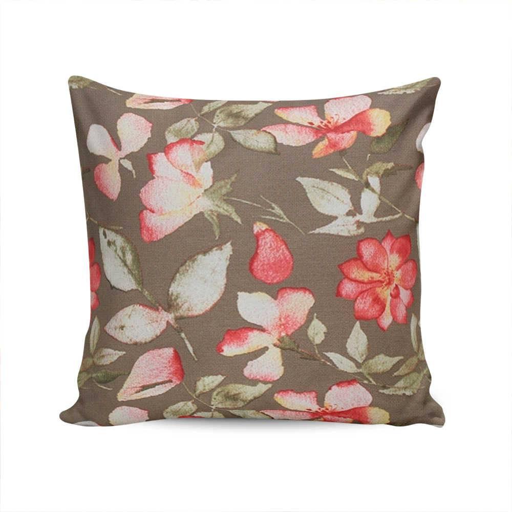 Almofada Belize Floral com Fundo Marrom - Capa em Algodão - 45x45 cm