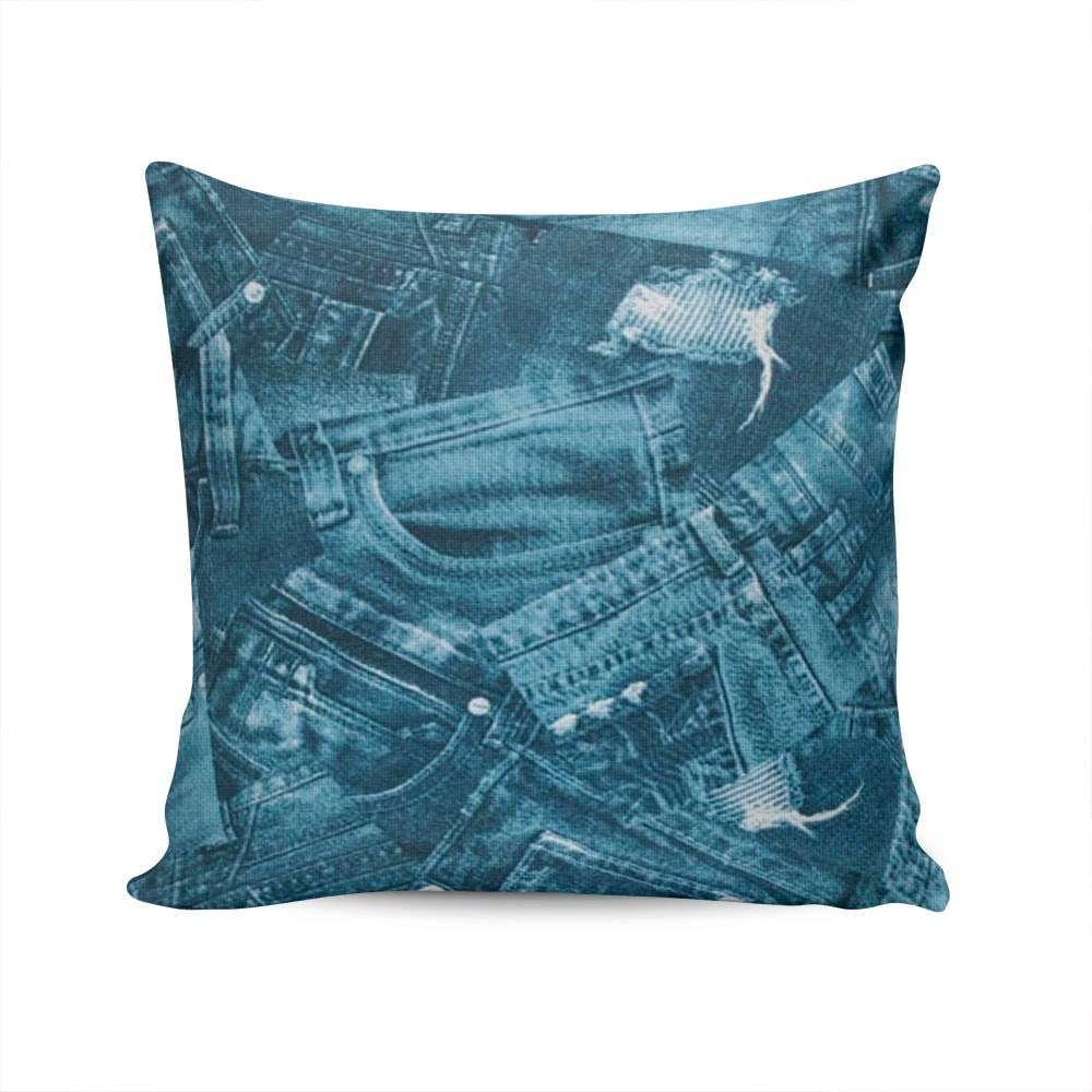 Almofada Belize Jeans Azul Capa em Algodão - 45x45 cm