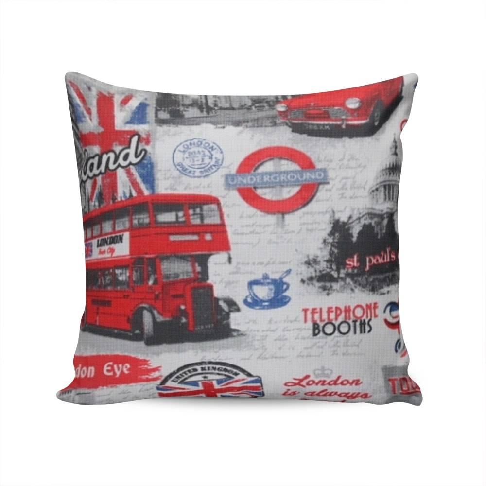 Almofada Belize London com Capa em Algodão - 45x45 cm