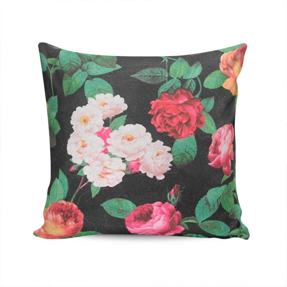 Almofada Belize Preta com Estampa de Rosas - Capa em Algodão - 45x45 cm