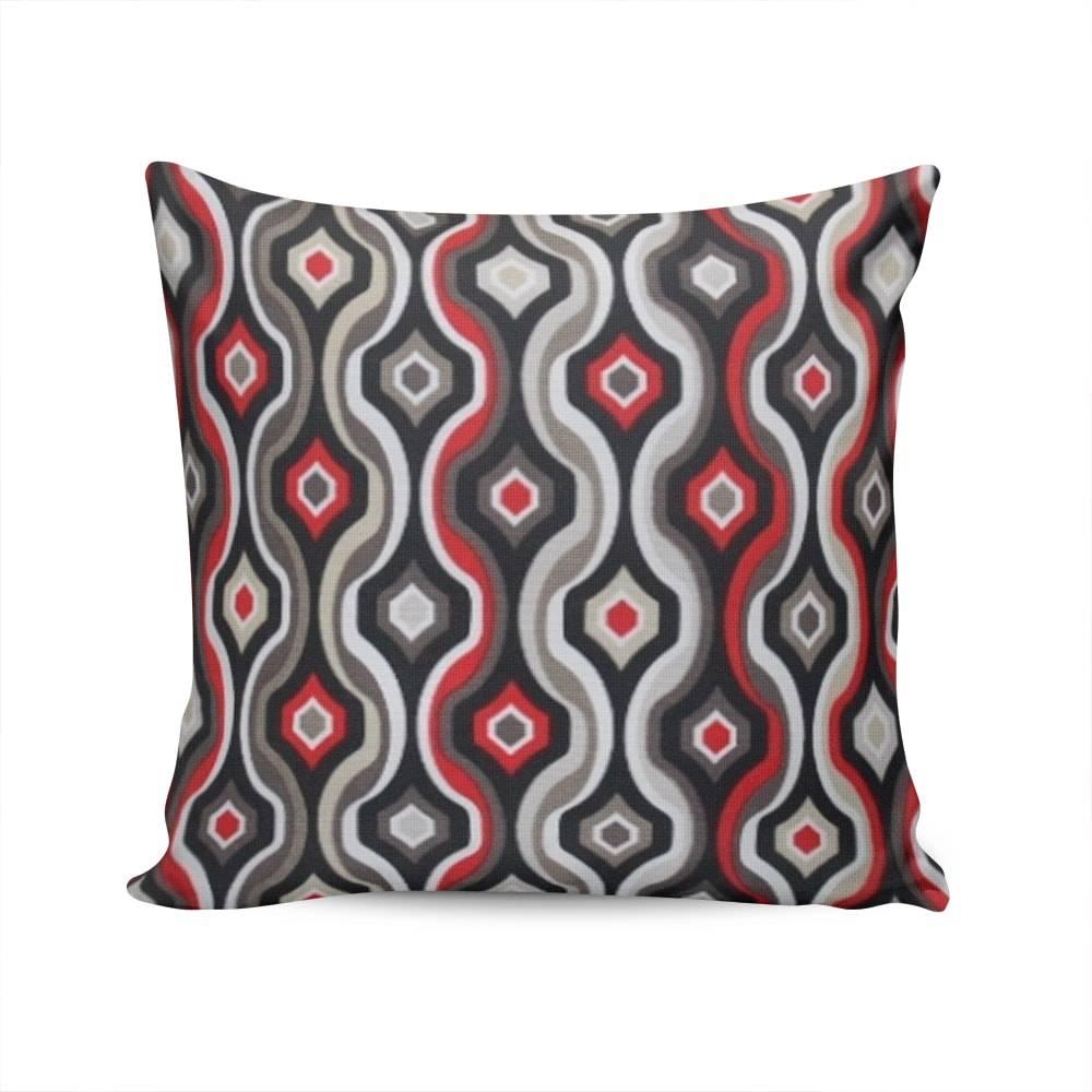 Almofada Belize Waves Cinza/Vermelho com Capa em Algodão - 45x45 cm