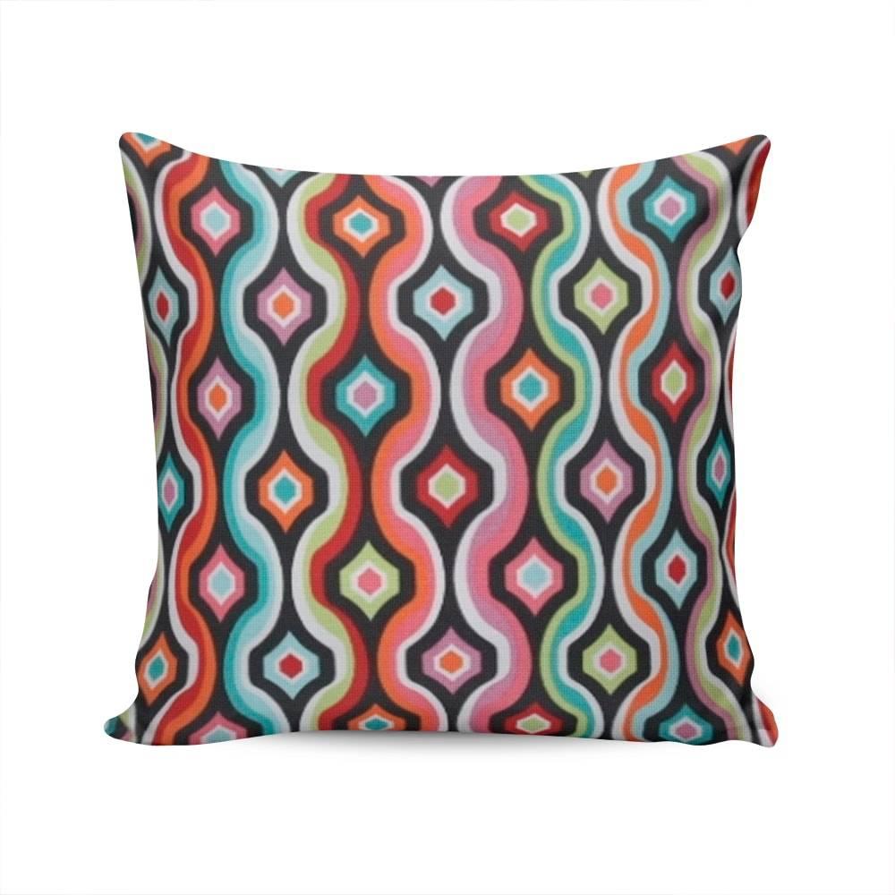 Almofada Belize Waves Colorida com Capa em Algodão - 45x45 cm