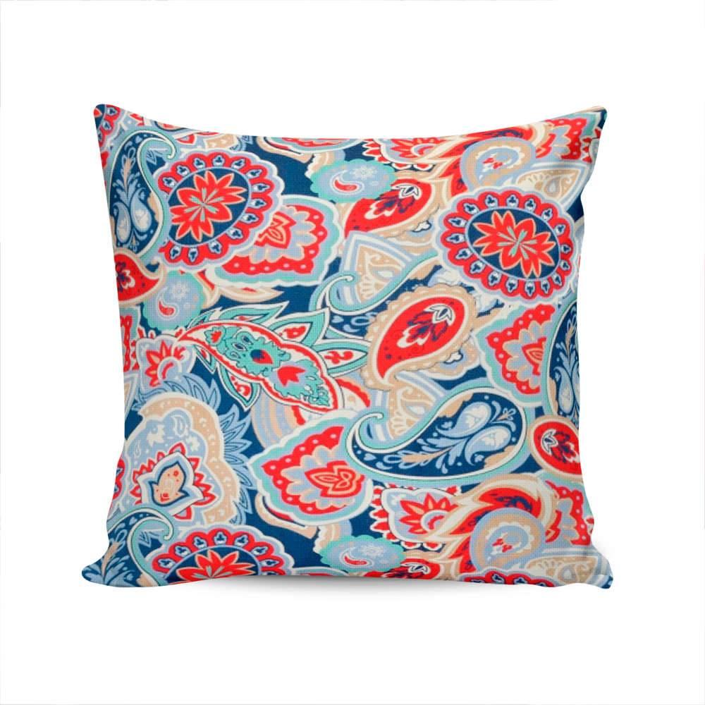Almofada Berlin Indian Pattern Azul e Vermelho com Capa em Algodão - 45x45 cm