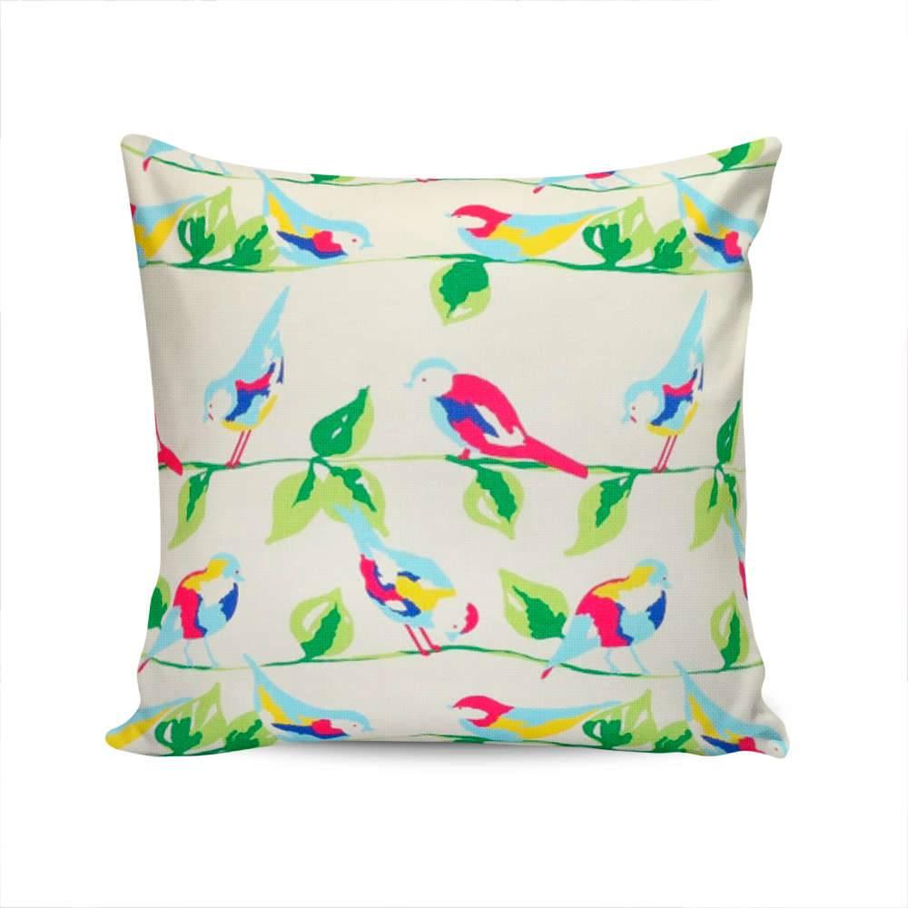 Almofada Berlin Pássaros Colorida com Capa em Algodão - 45x45 cm