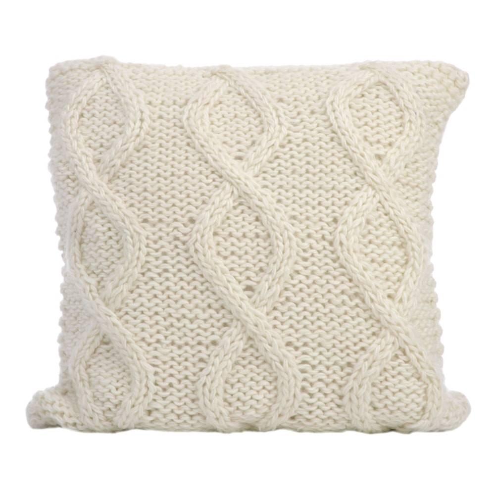 Almofada Cables Branco com Capa em Lã - 40x40 cm