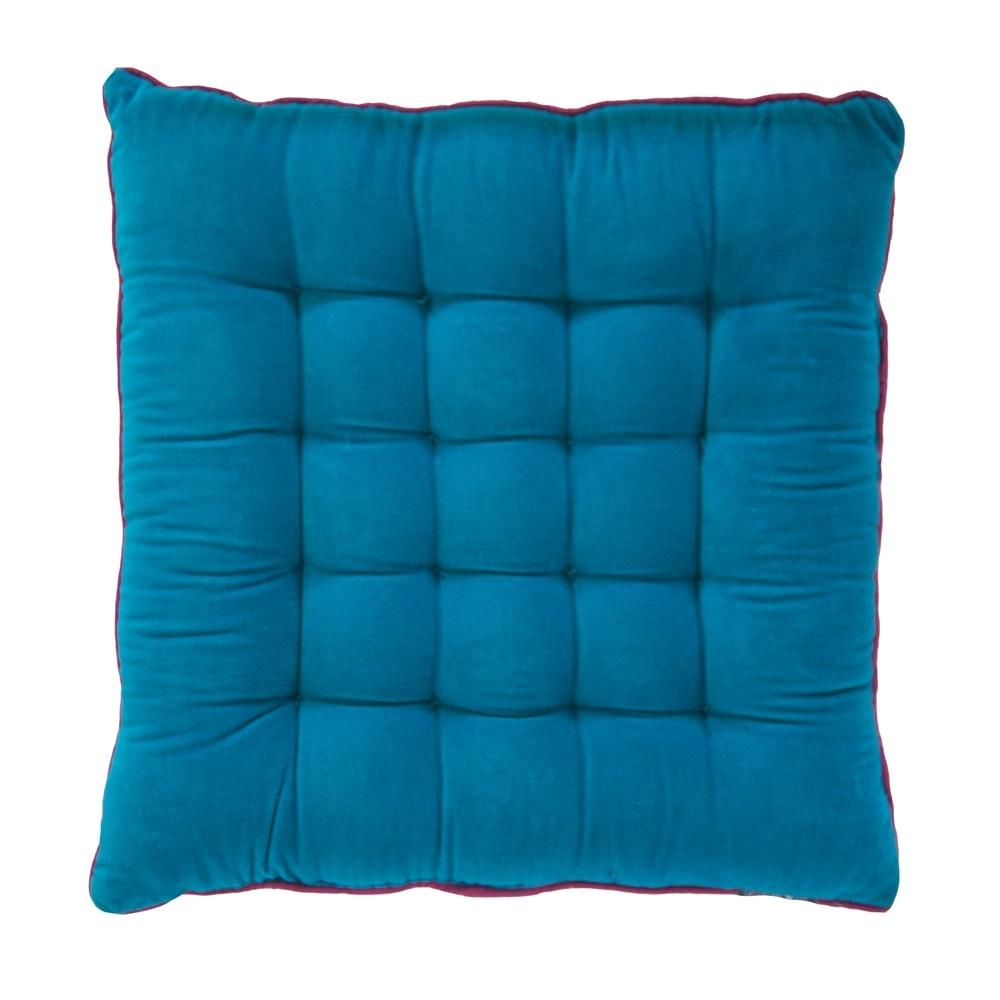 Almofada Capitonê Azul/Laranja em Algodão - 40x40 cm