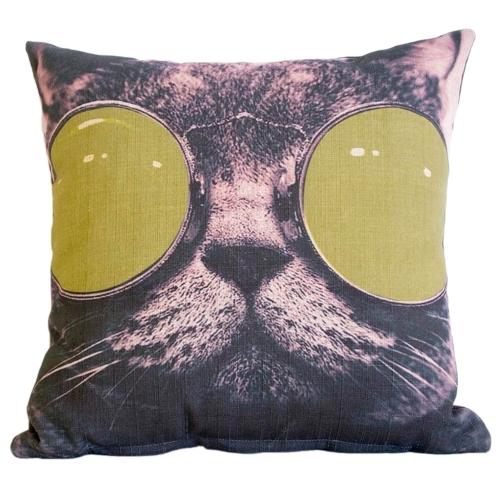 Almofada Cat With Green Glasses em Tecido - 45x45 cm