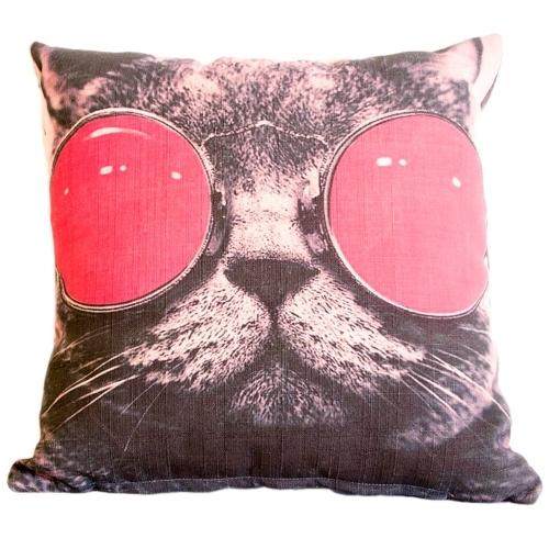 Almofada Cat With Red Glasses em Tecido - 45x45 cm