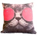 Almofada Cat With Red Glasses em Tecido