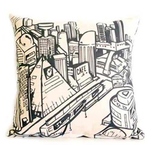 Almofada Cidade em Preto e Branco em Tecido - 45x45 cm
