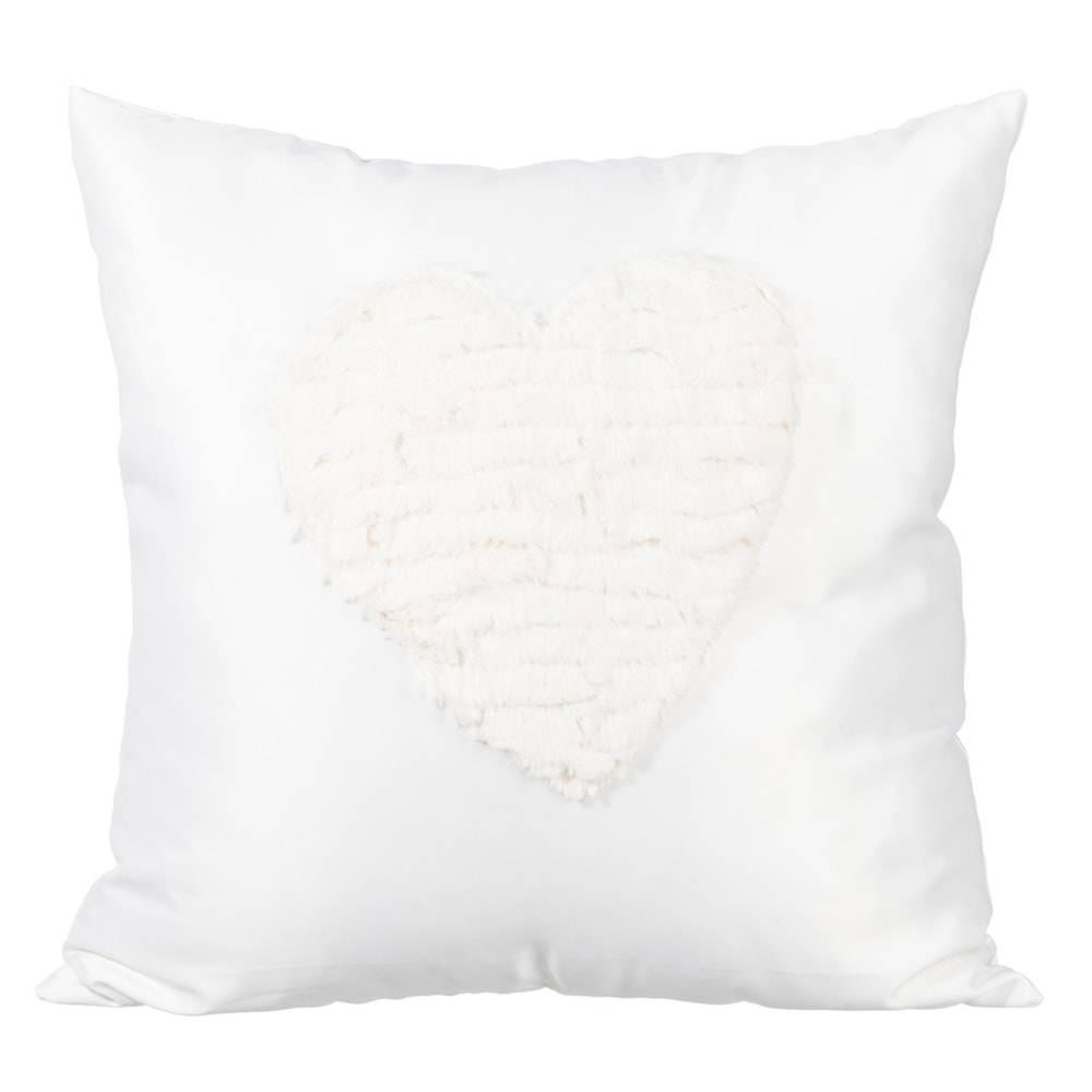 Almofada Coração Branco com Capa em Algodão - 40x40 cm