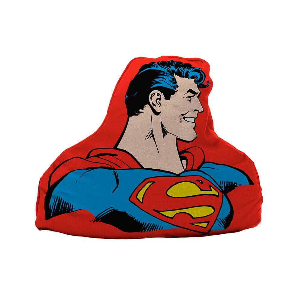 Almofada DC Comics Superman Half Body Fundo Vermelho em Poliéster - Urban - 45x36 cm
