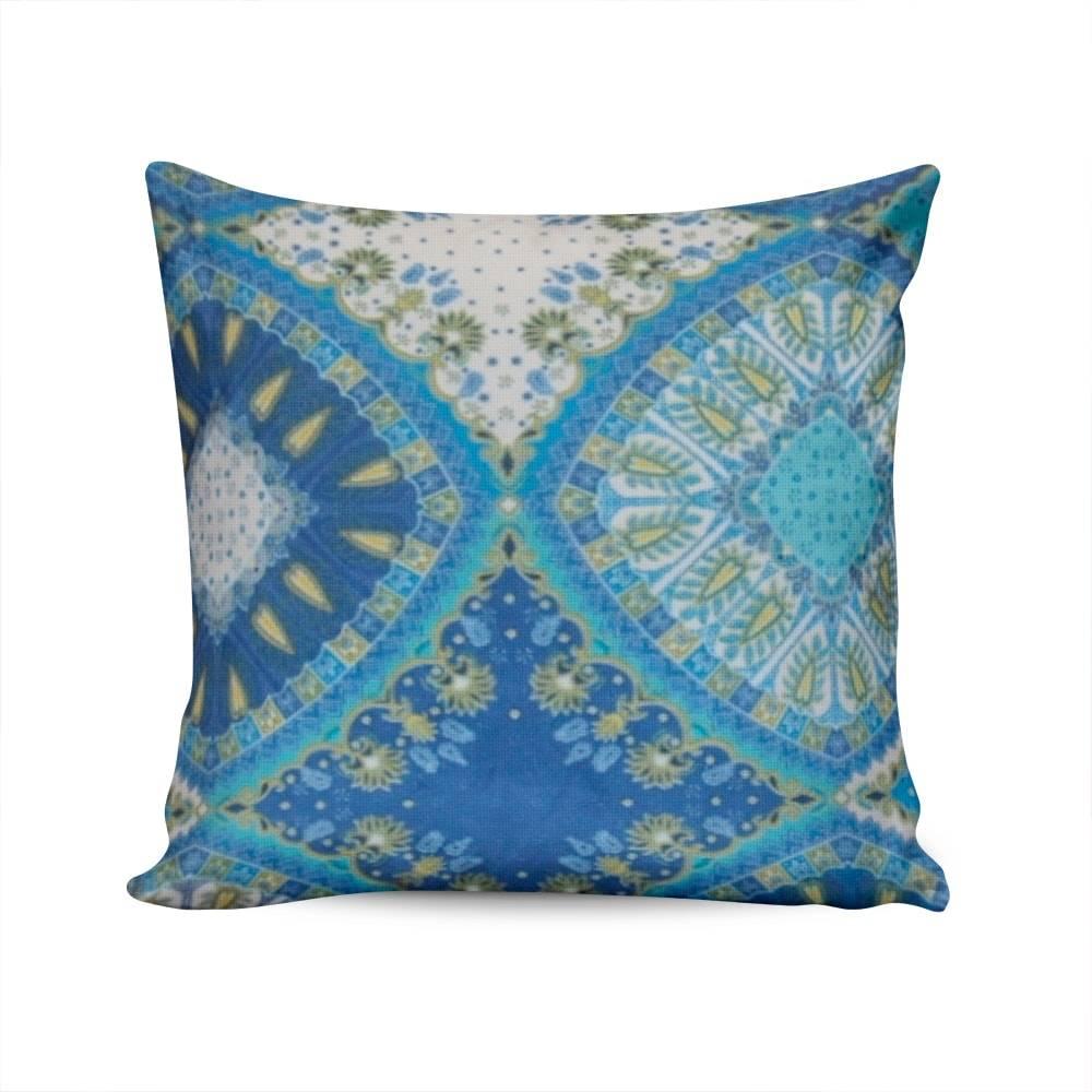 Almofada Dubai Estampa Indiana Azul Capa em Poliéster - 45x45 cm