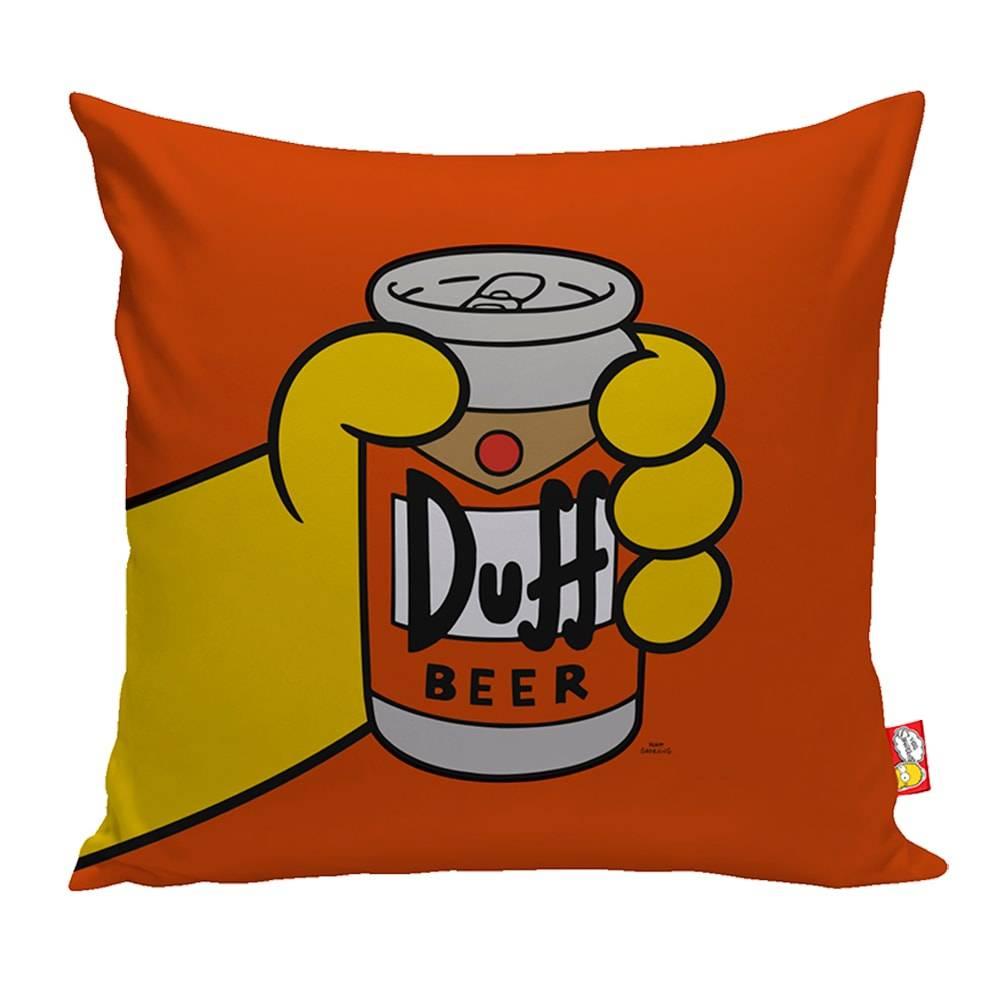 Almofada Duff Beer The Simpsons Laranja em Poliéster - 40x40 cm