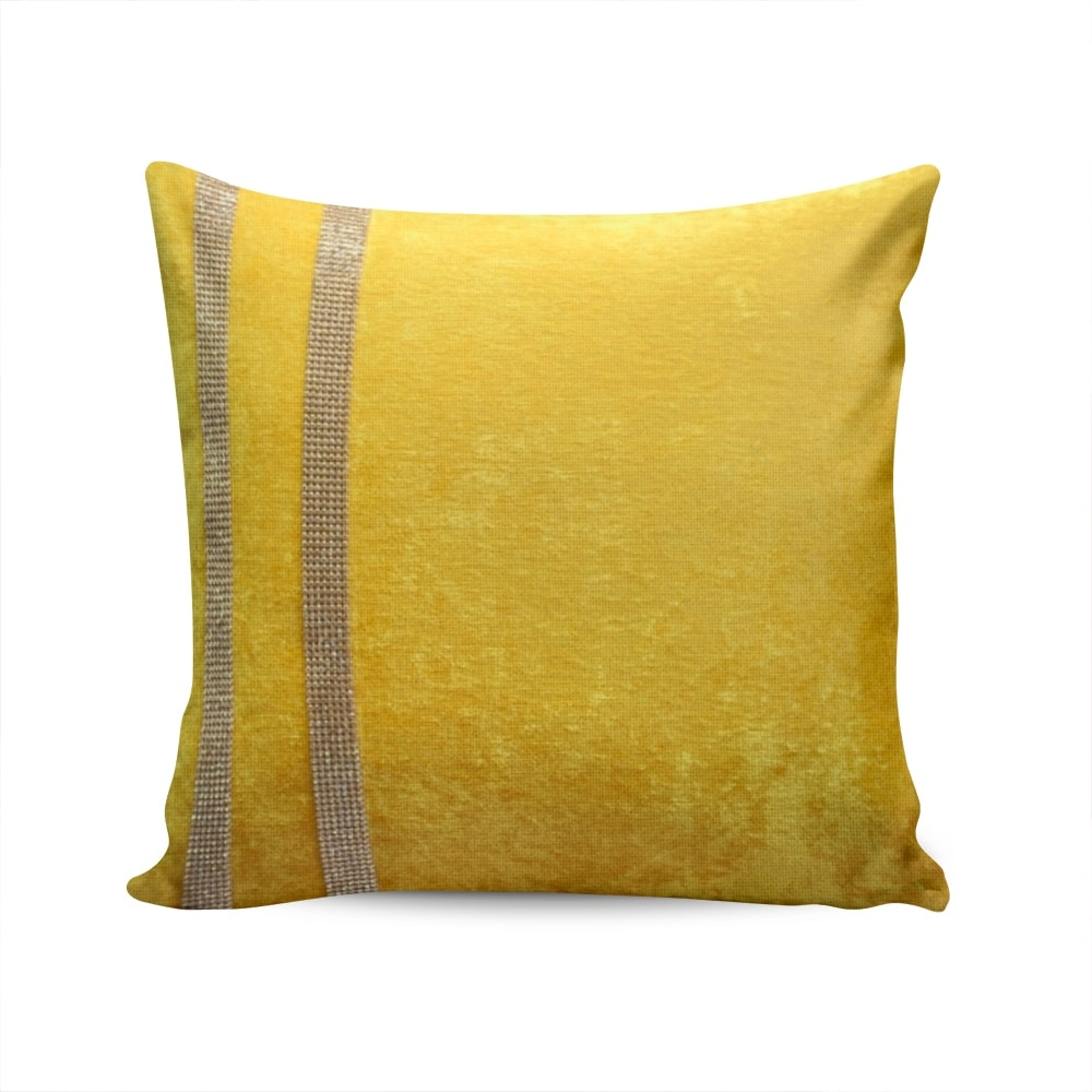 Almofada Elegance Amarelo com Strass e Capa em Veludo - 50x50 cm