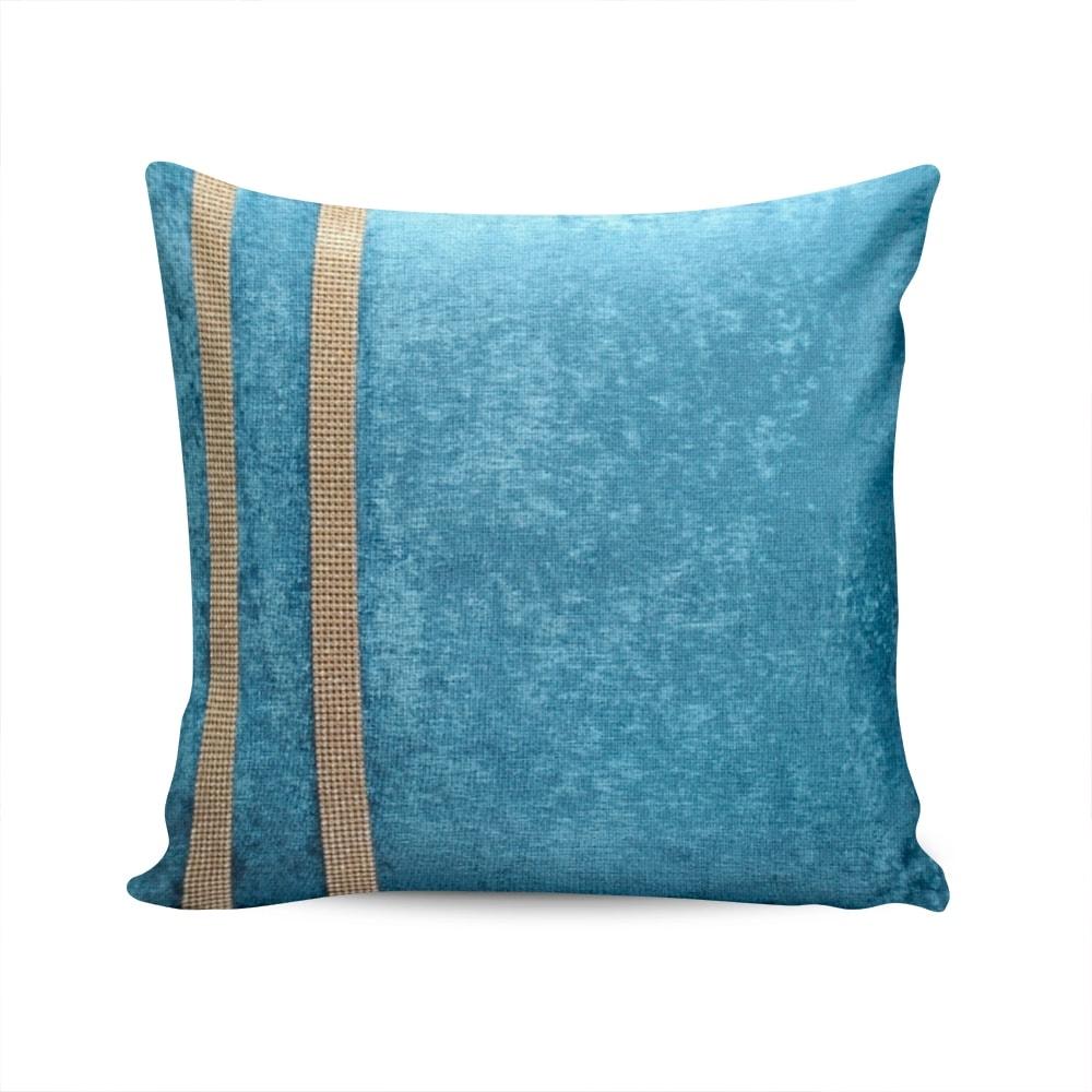 Almofada Elegance Azul Celeste com Strass e Capa em Veludo - 50x50 cm