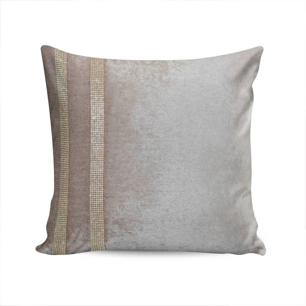 Almofada Elegance Bege c/ Strass e Capa em Veludo - 50x50 cm