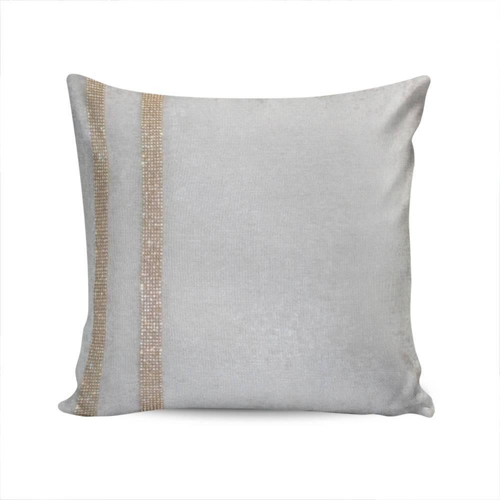 Almofada Elegance Bege Claro c/ Strass e Capa em Veludo - 50x50 cm