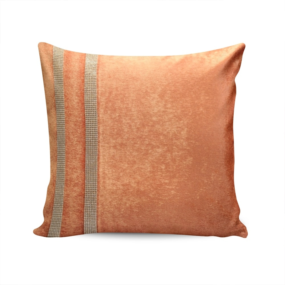 Almofada Elegance Laranja com Strass e Capa em Veludo - 50x50 cm