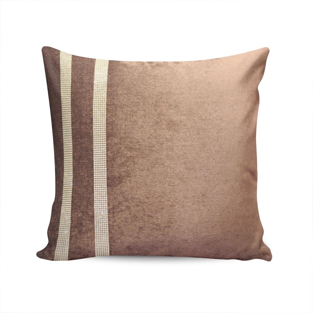 Almofada Elegance Marrom com Strass e Capa em Veludo - 50x50 cm