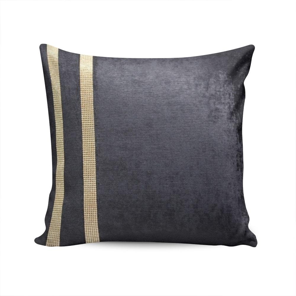 Almofada Elegance Preta com Strass e Capa em Veludo - 50x50 cm
