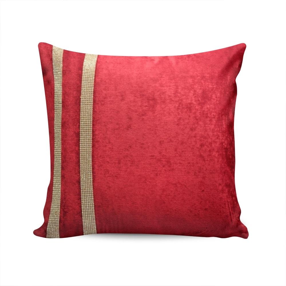 Almofada Elegance Vermelha com Strass e Capa em Veludo - 50x50 cm