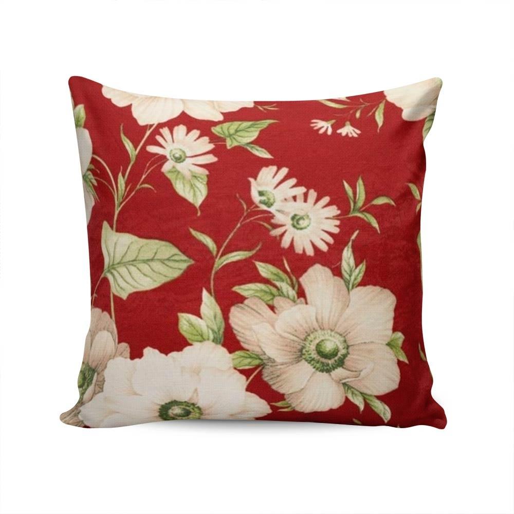 a33823114 Almofada Exclusiv Vermelha Estampa De Flores Capa em Algodão - 45x45 cm