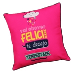 Almofada Felicidade Rosa em Poliester - 40x40 cm
