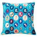 Almofada Florestinha Pássaro Composê Azul em Tecido Poliéster - 40x40 cm