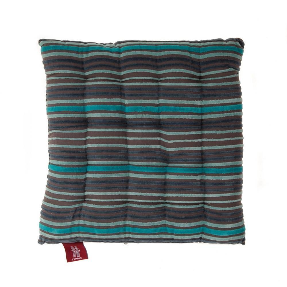 Almofada Gaddin Listras Azul/Cinza em Algodão - 40x40 cm