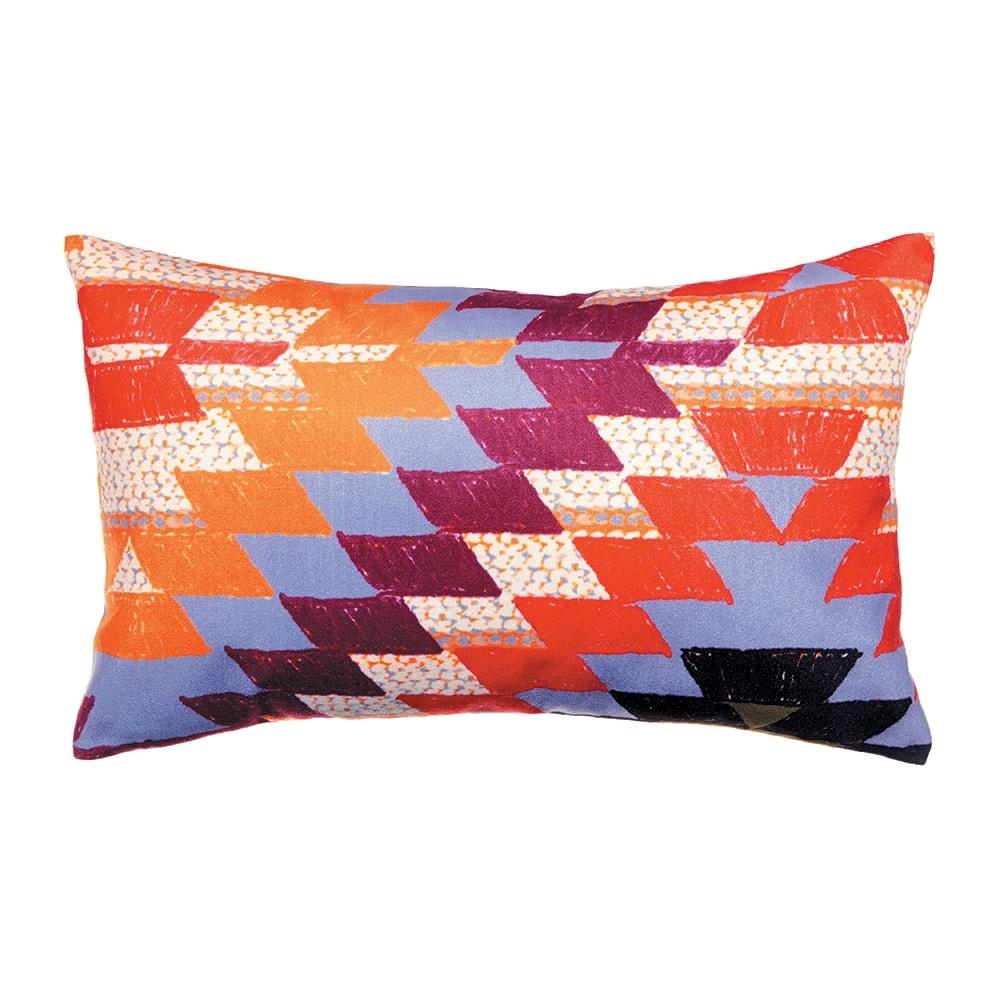 Almofada Retangular Estampa Geométrica Colorida em Camurça Soft - 30x50 cm