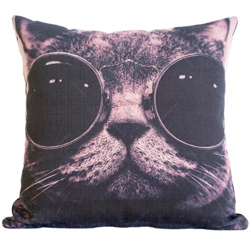 Almofada Glasses Cat em Tecido - 45x45 cm