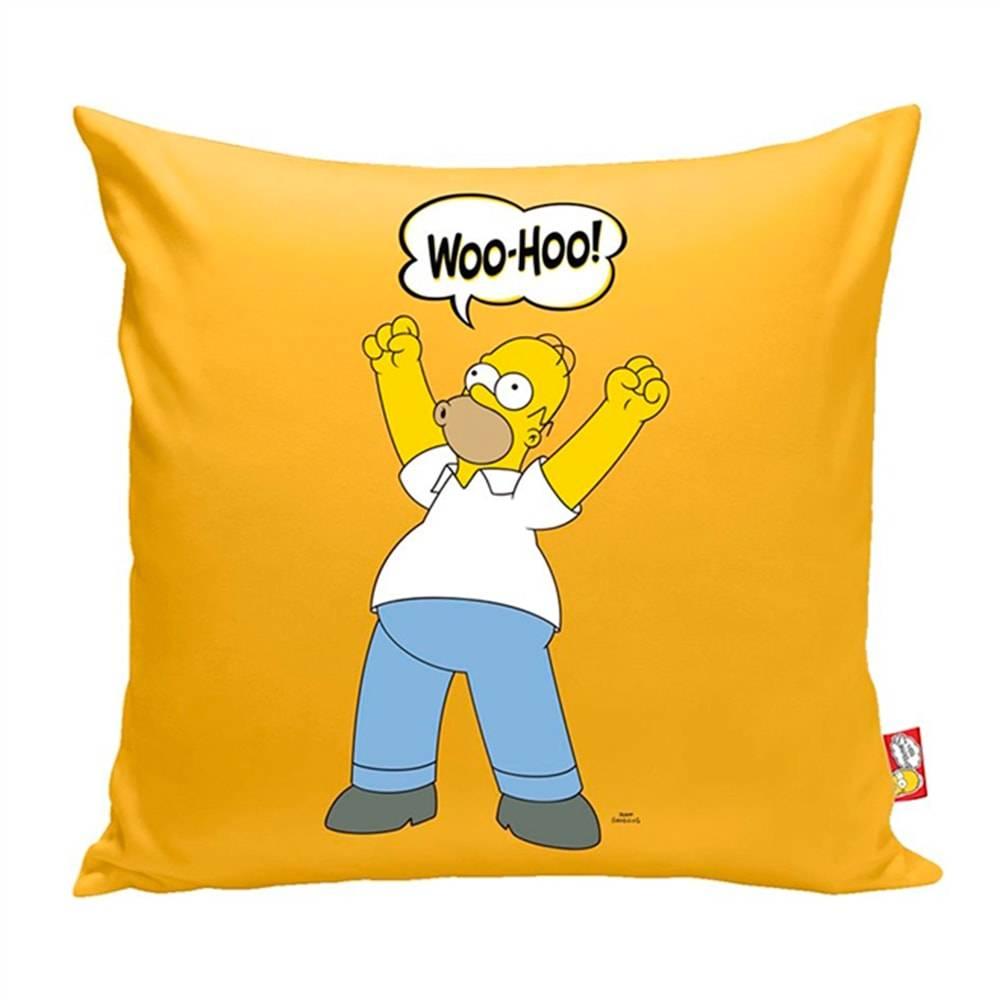 Almofada Homer Simpson Amarela - The Simpsons - em Poliéster - 40x40 cm
