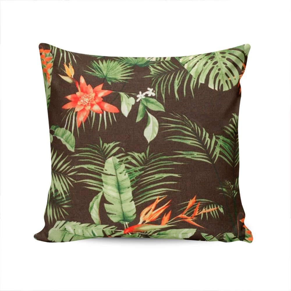 Almofada Ilha Bella Flores e Folhas com Capa em Algodão - 45x45 cm