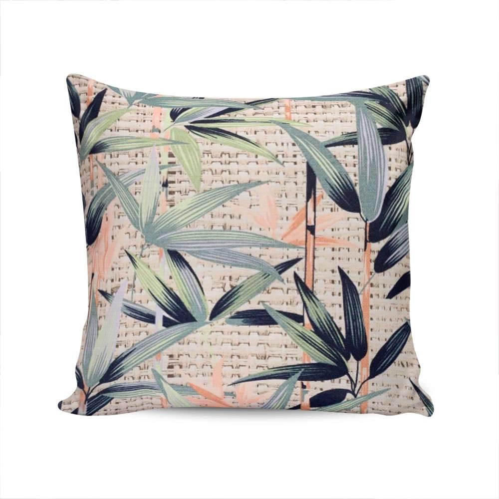 Almofada Ilha Bella Folhas de Bambu Capa em Algodão - 45x45 cm
