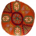 Almofada Indiana Laranja Redonda em Algodão - 40x40 cm