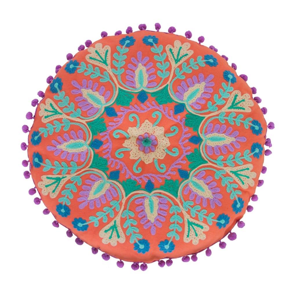 Almofada Indiana Manish Laranja Redonda em Algodão - 40x40 cm