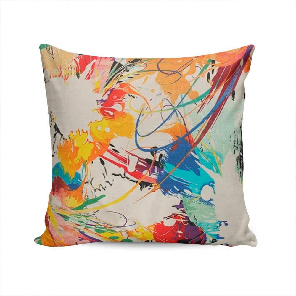 Almofada Indy Estampa Tinta Colorida com Capa em Algodão - 45x45 cm