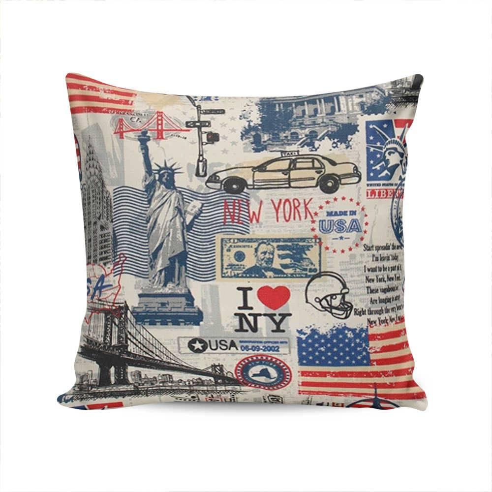 Almofada Indy New York USA com Capa em Algodão - 45x45 cm