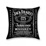 Almofada Jack Daniels Preta em Poliéster - 43x43 cm