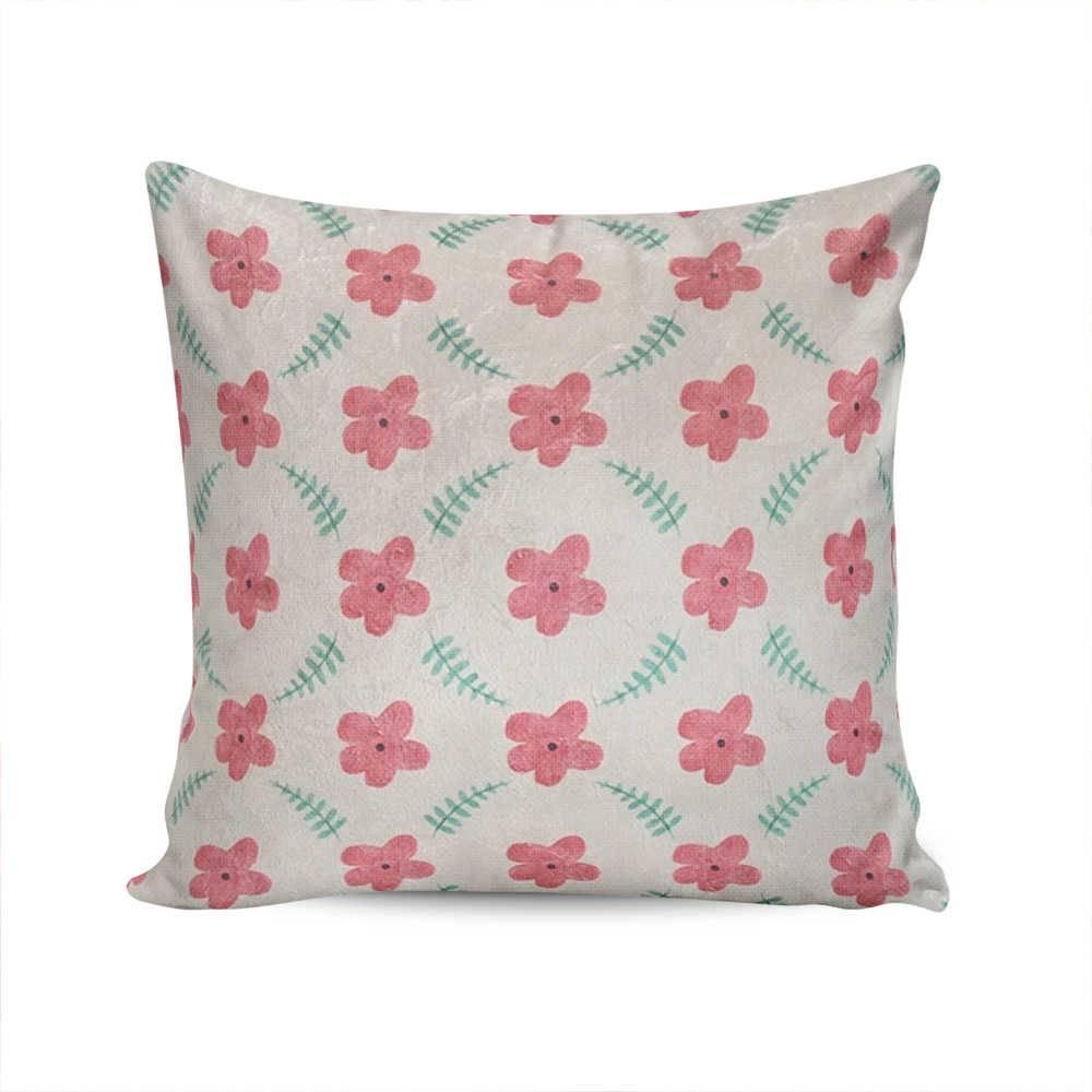 Almofada Jardim Secreto Branca com Flores Rosa em Poliéster - 50x50 cm