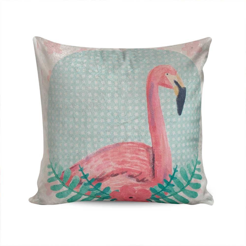 Almofada Jardim Secreto Flamingo com Fundo Verde em Poliéster - 50x50 cm