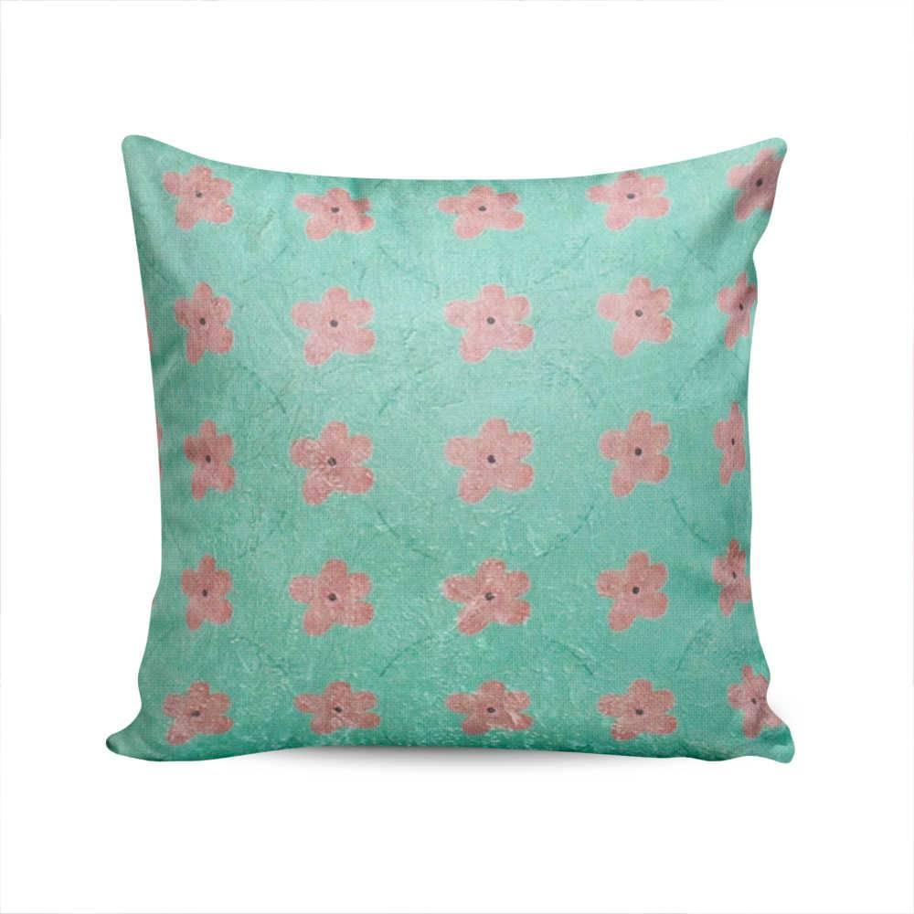 Almofada Jardim Secreto Verde com Flores Rosa em Poliéster - 50x50 cm