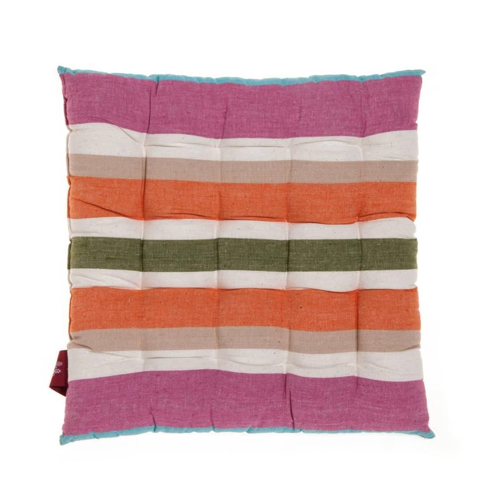 Almofada Listras Coloridas em Algodão - 40x40 cm